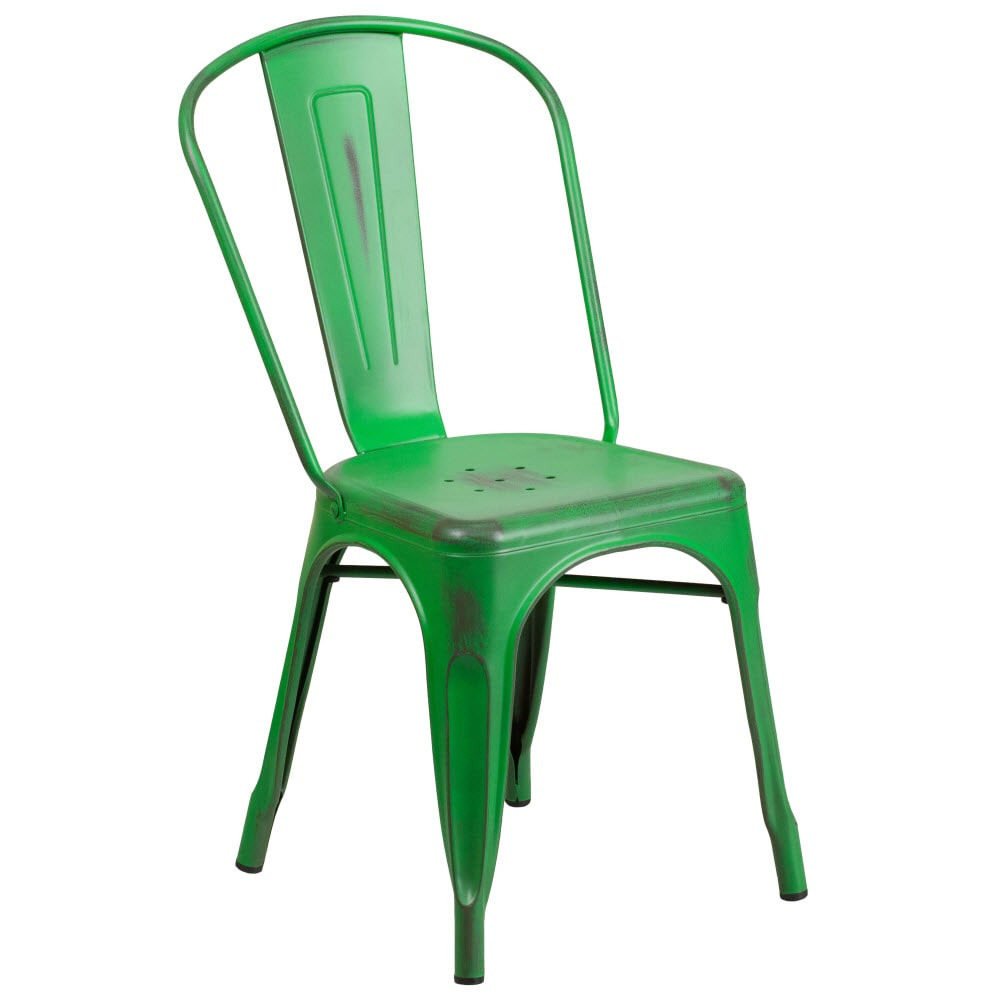 Bistro Style Metal Chair in Distressed Green Finish