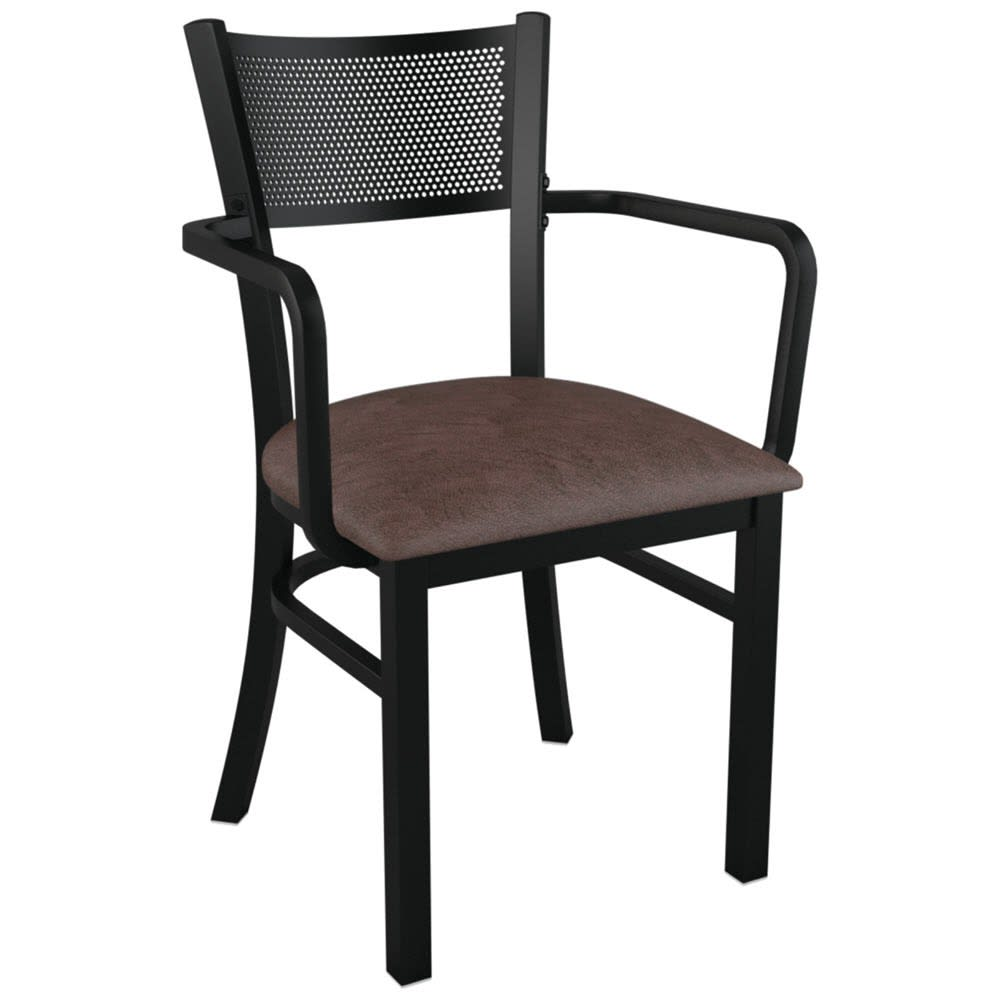 Checker Back Metal Chair With Arms