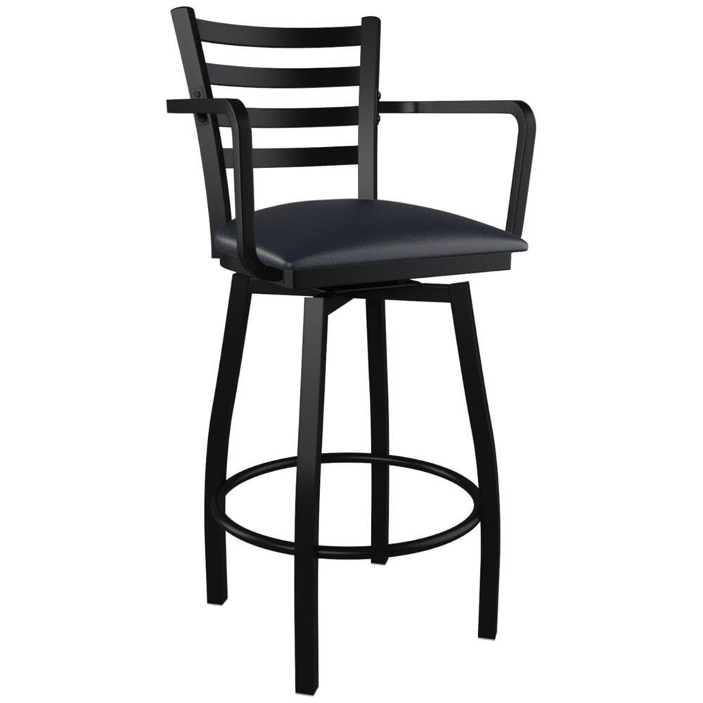 Ladder Back Swivel Bar Stool With Arms