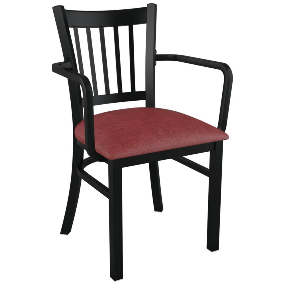 Metal Vertical Back Chair With Arms