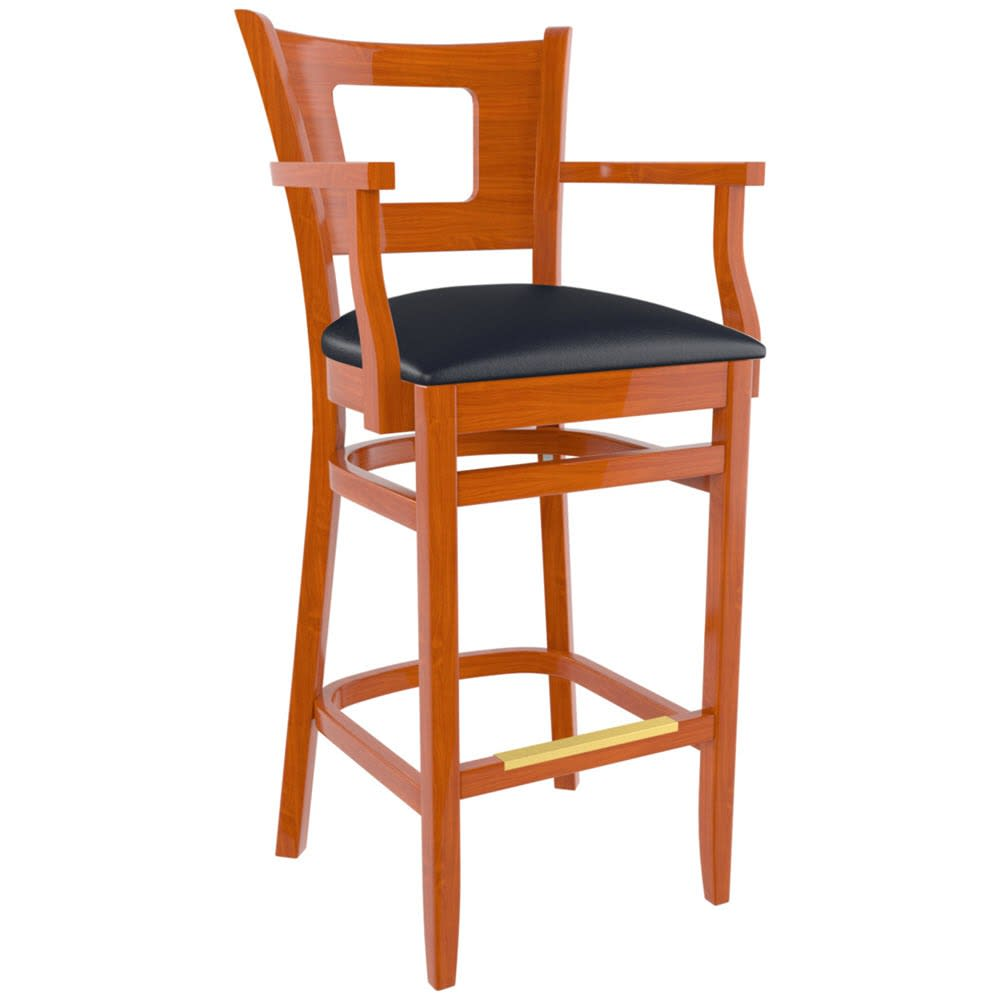 Premium US Made Duna Wood Bar Stool With Arms