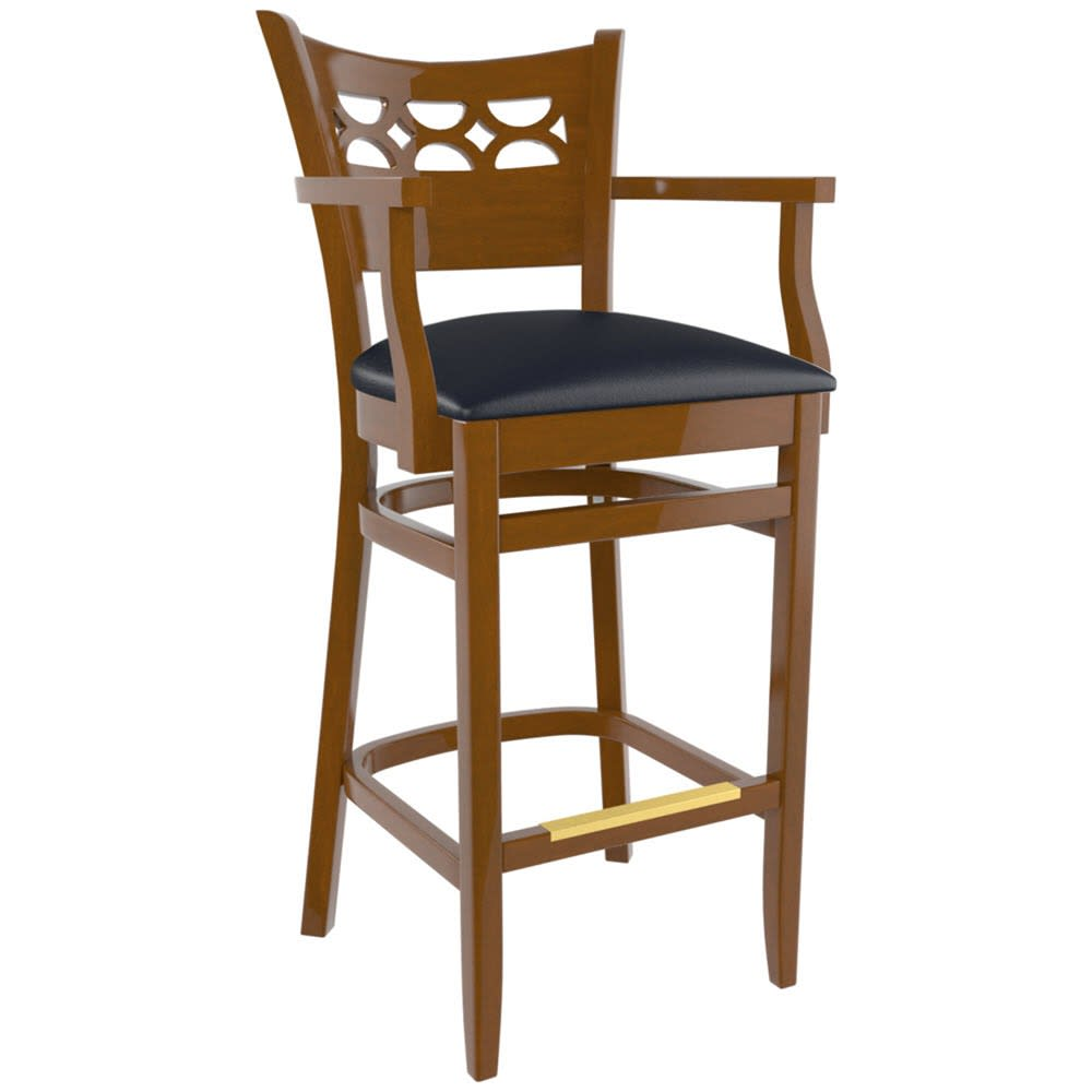 Premium US Made Leonardo Wood Bar Stool With Arms