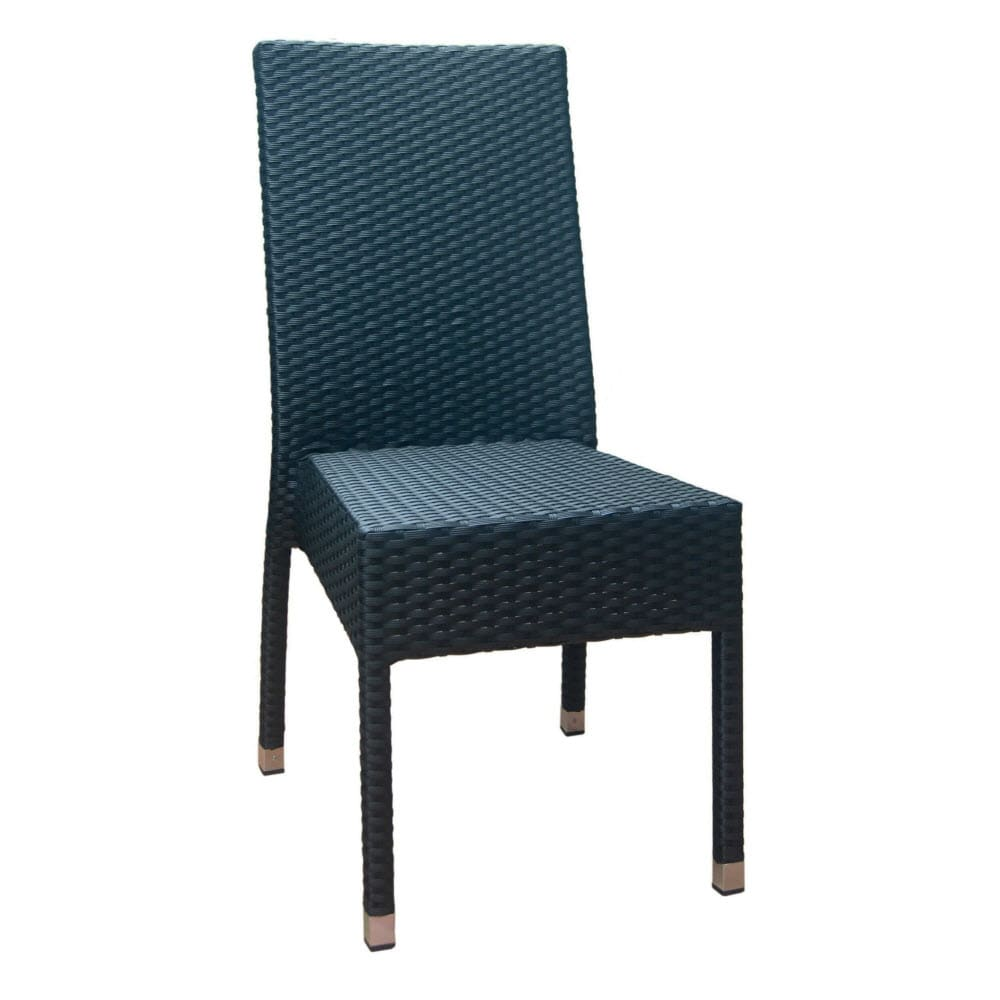 Felix Woven Rattan Patio Chair in Black Finish