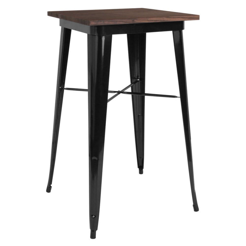 Industrial Black Bar Height Table with Dark Walnut Wood Top