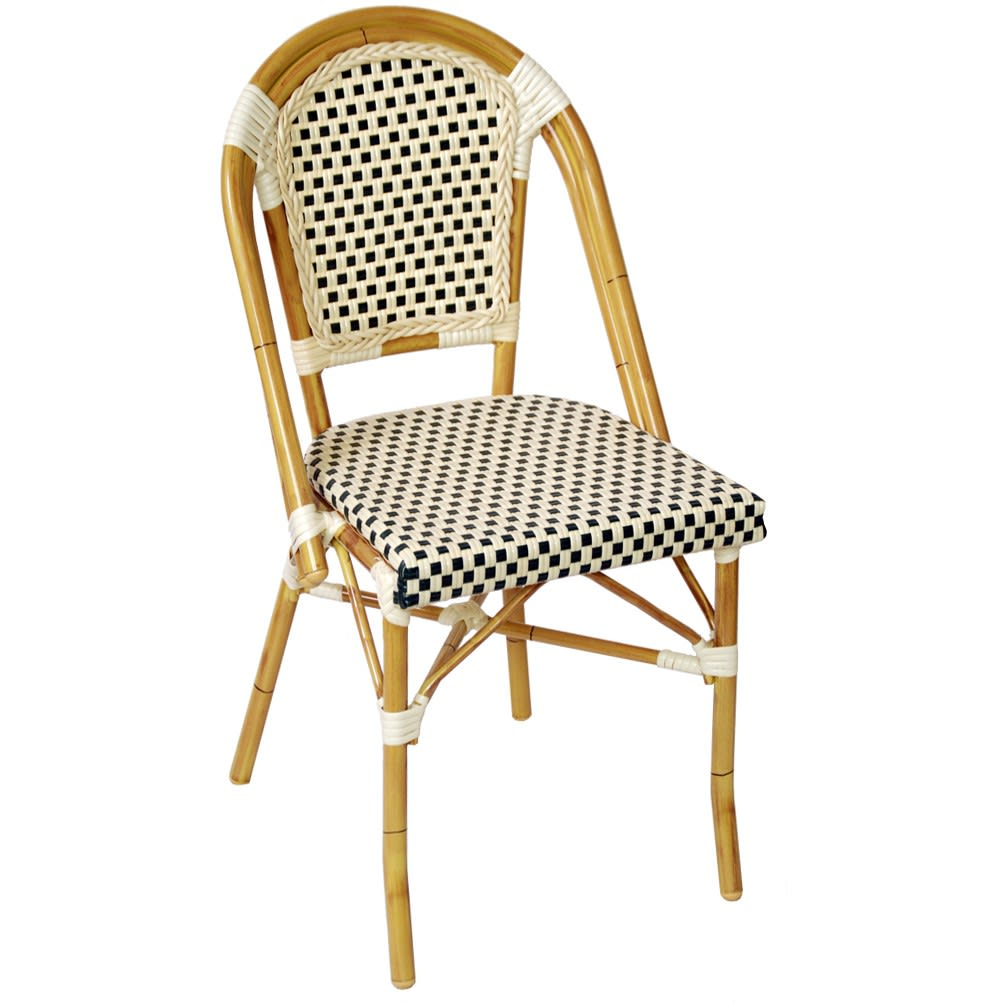 Aluminum Bamboo Patio Chair With Dark Green & White Rattan