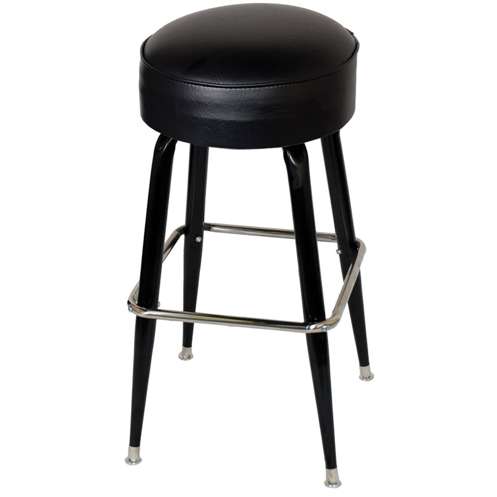 Black Vinyl Padded Backless Swivel Bar Stool with Footrest