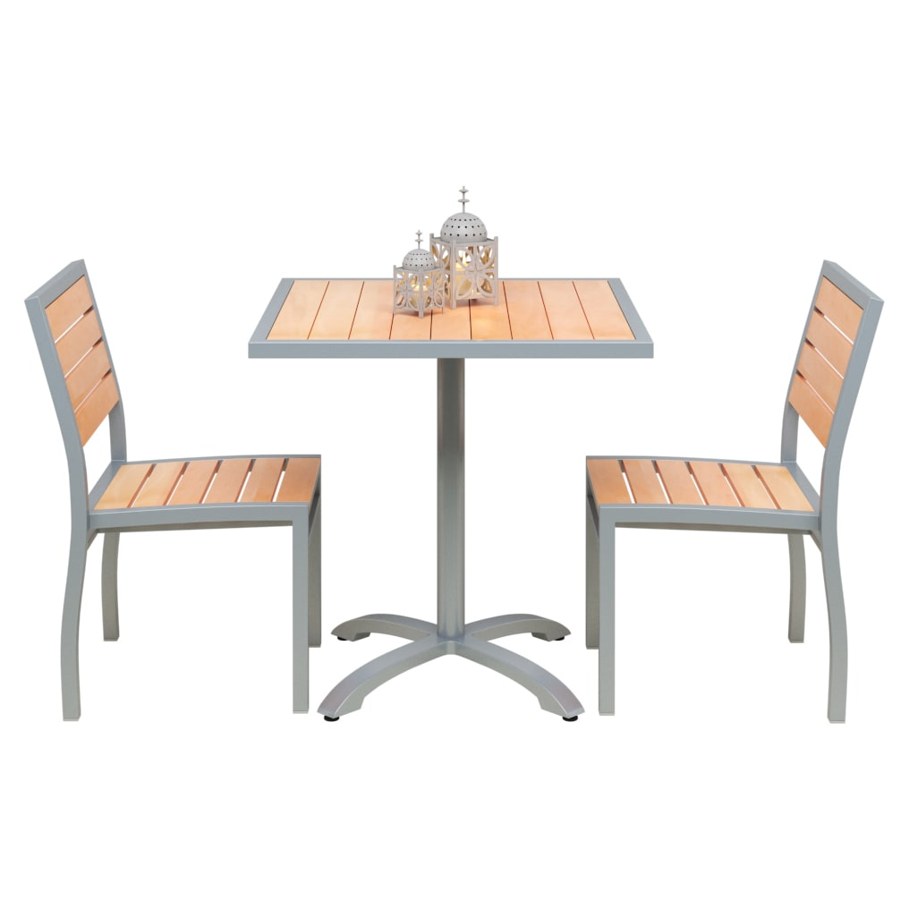 Set of 2 Grey Aluminum Side Chairs with Table with Set of 2 Grey Aluminum Side Chairs with Table