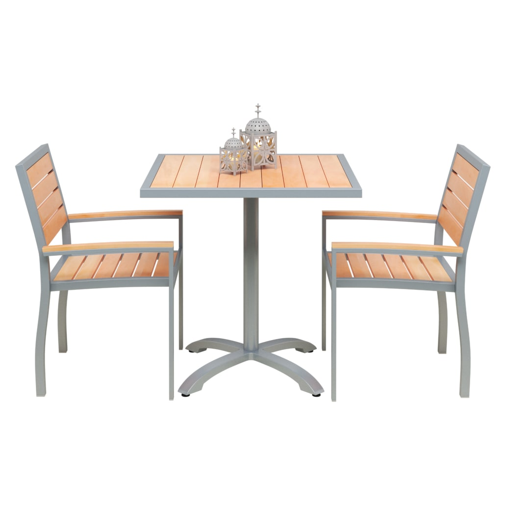 Set of 2 Grey Aluminum Arm Chairs with Table with Set of 2 Grey Aluminum Arm Chairs with Table