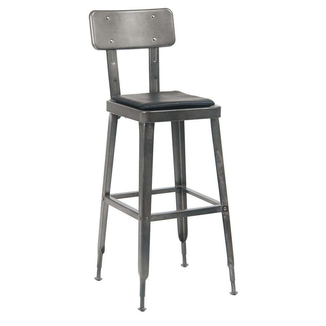 Laurie Bistro-Style Metal Bar Stool in Dark Grey