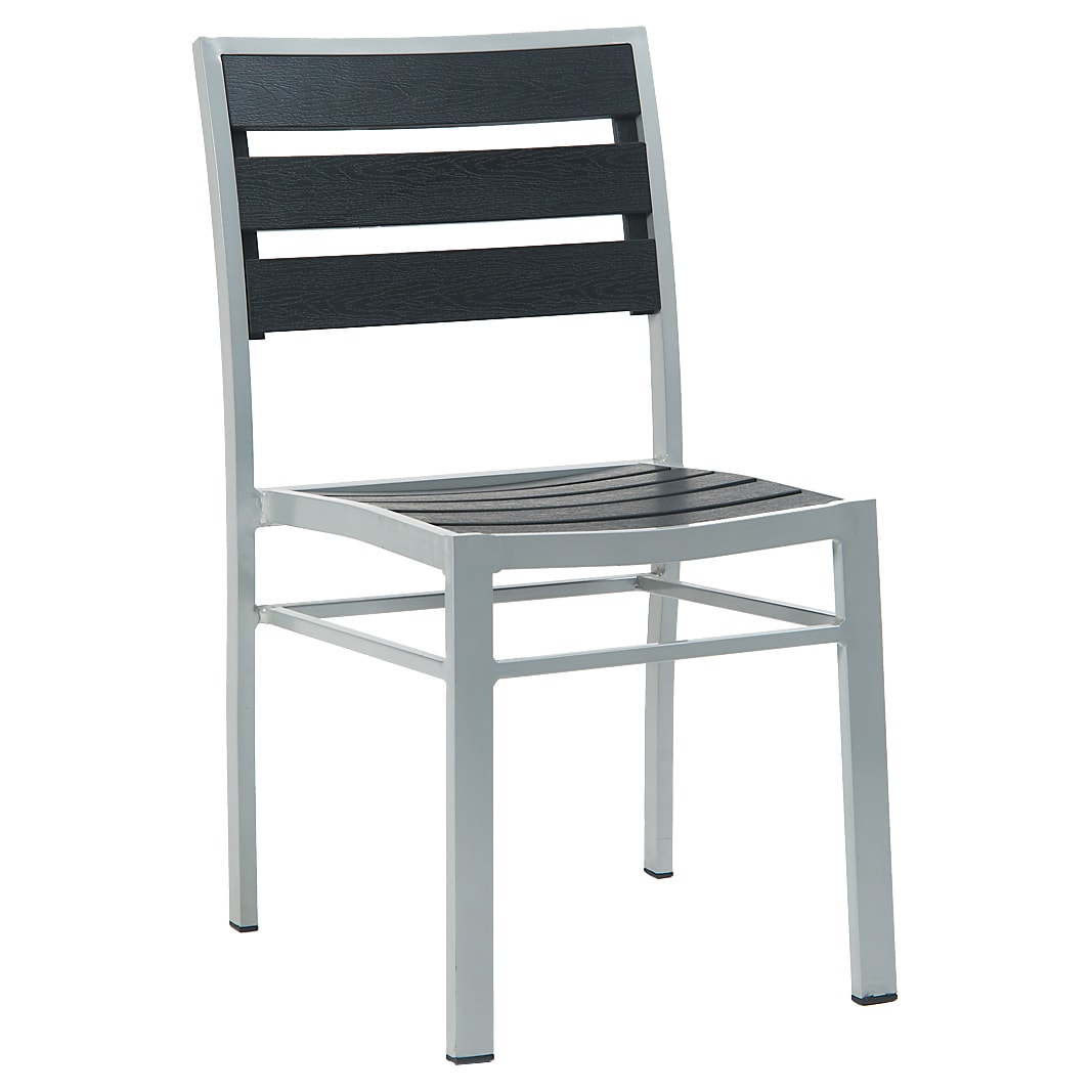 Aluminum Chair with Black Plastic Teak