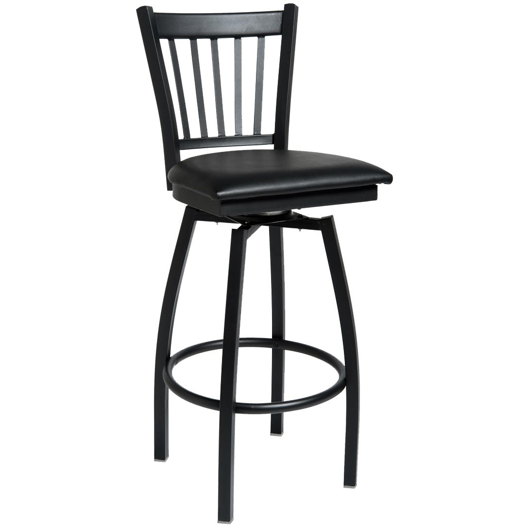 Metal Vertical Slat Swivel Bar Stool