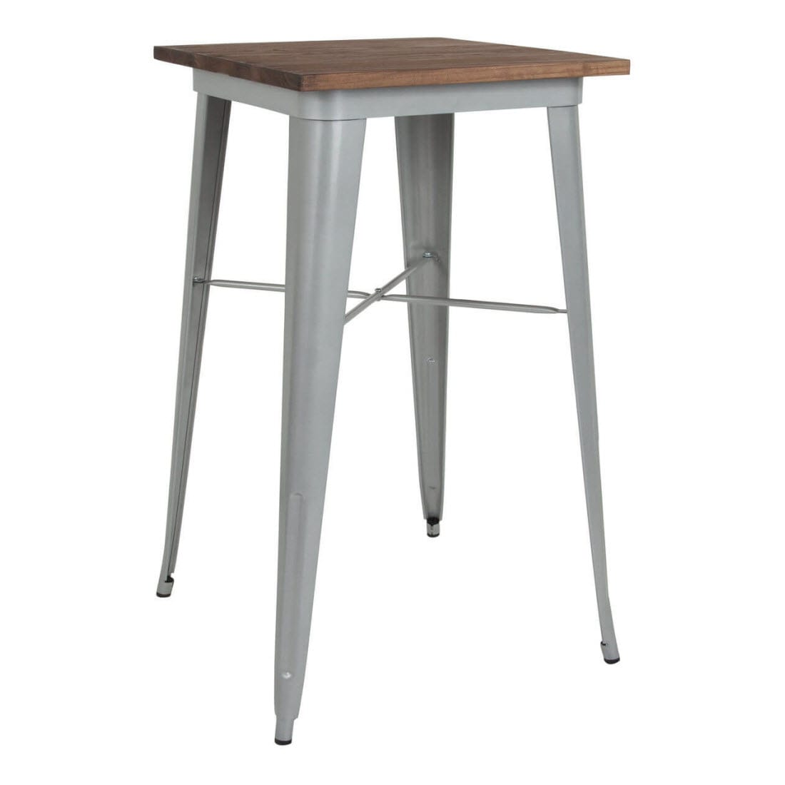 Industrial Silver Bar Height Table with Dark Walnut Wood Top