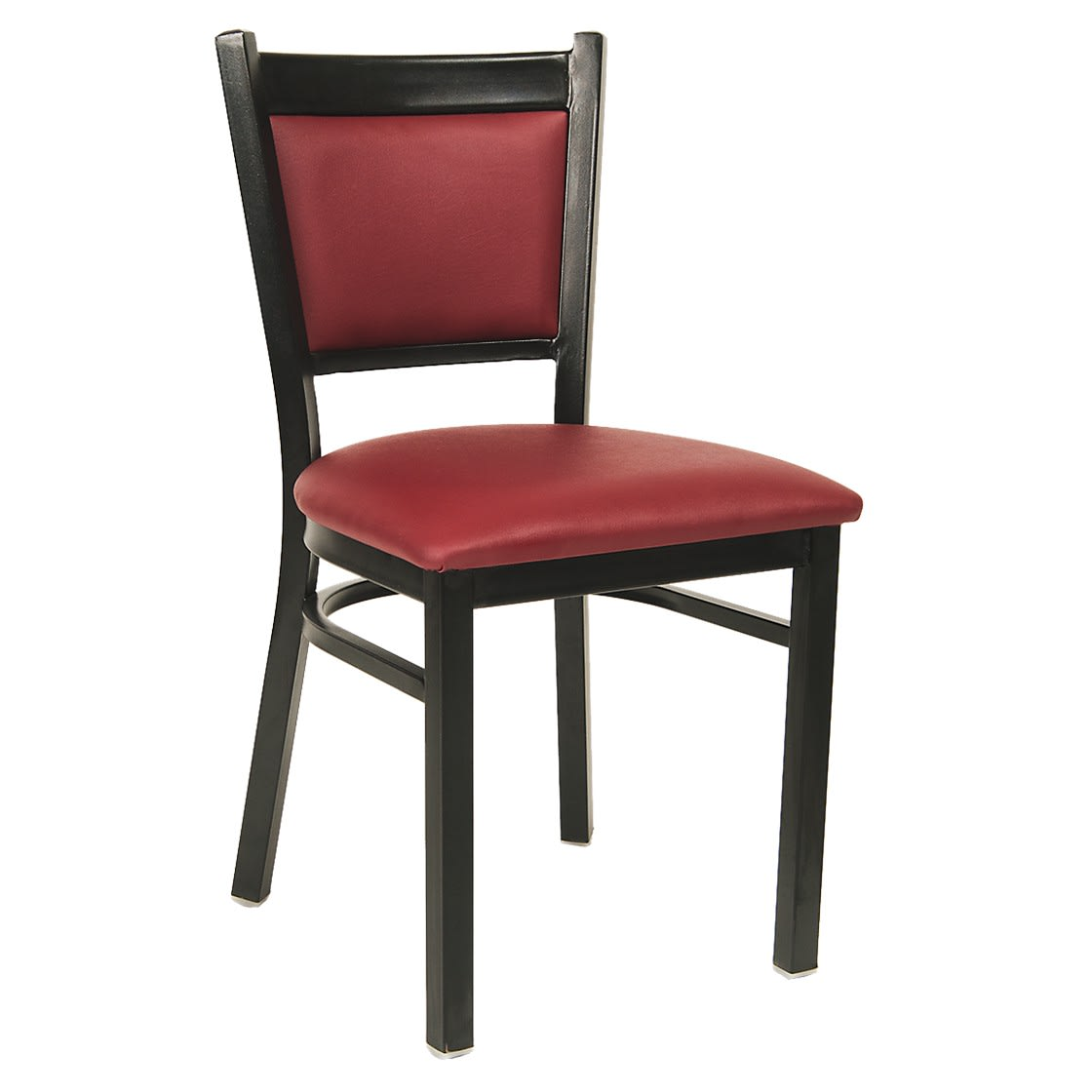 Black Metal Chair with Burgundy Padded Vinyl Seat and Back