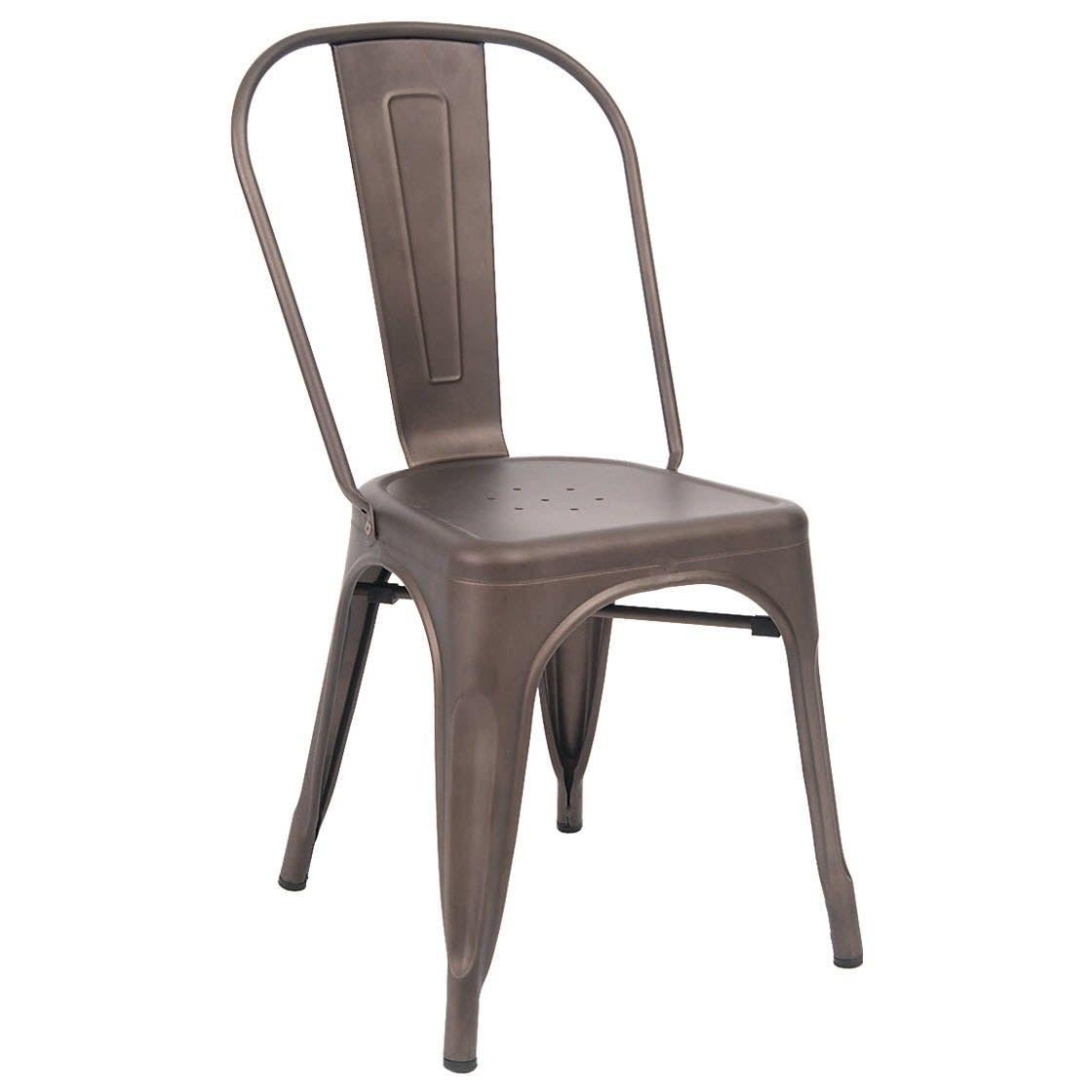 Bistro Style Metal Chair in Dark Grey Finish