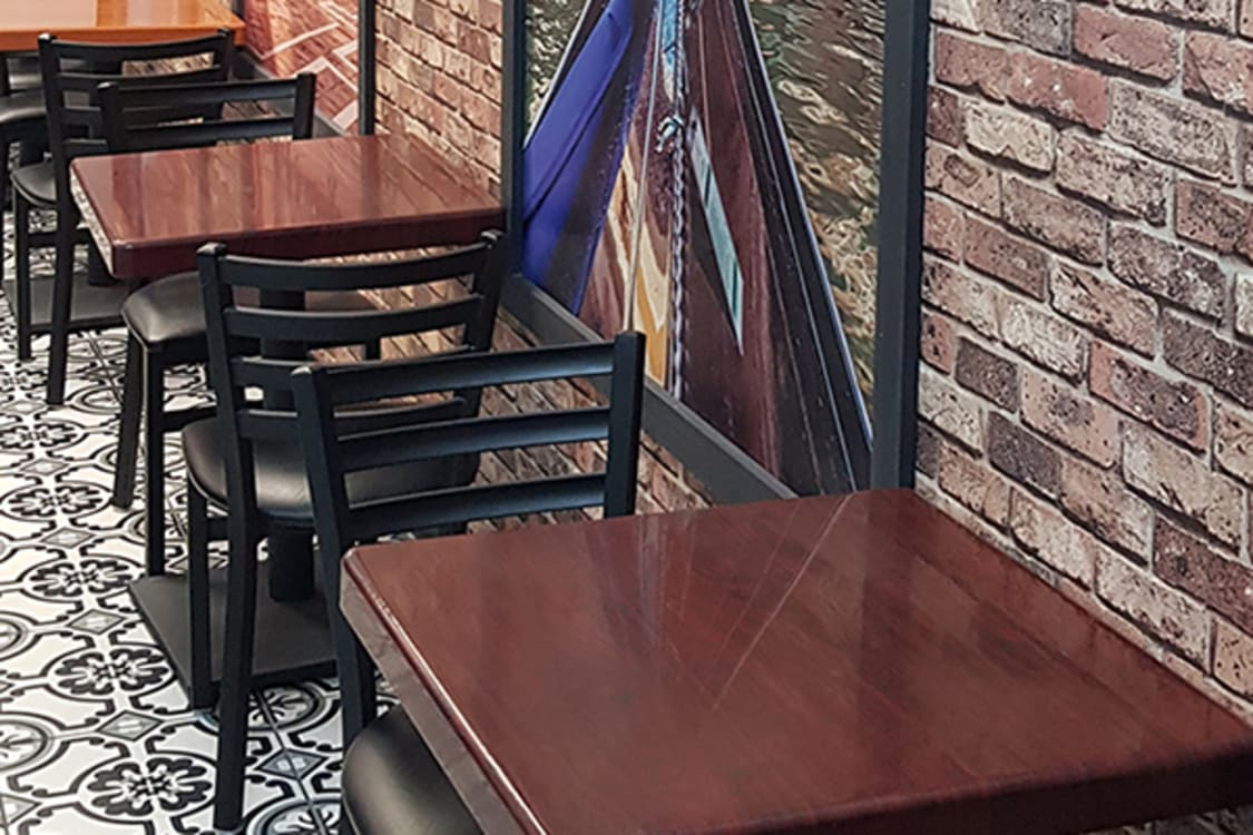 Coffee house furniture in location