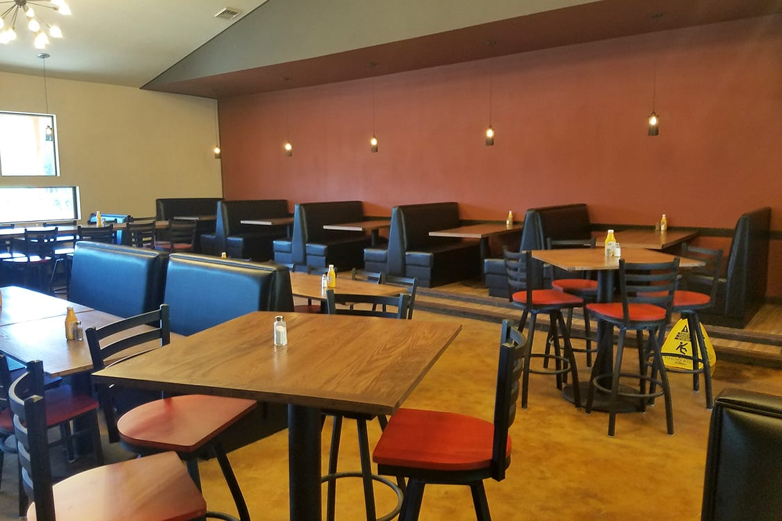 restaurant chairs and booths
