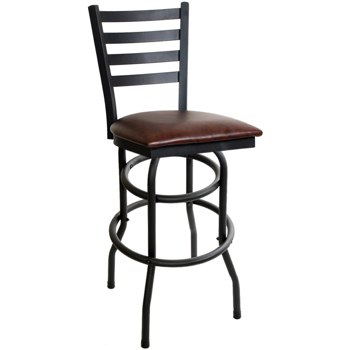 Ladder Back Double Ringed Swivel Bar Stool