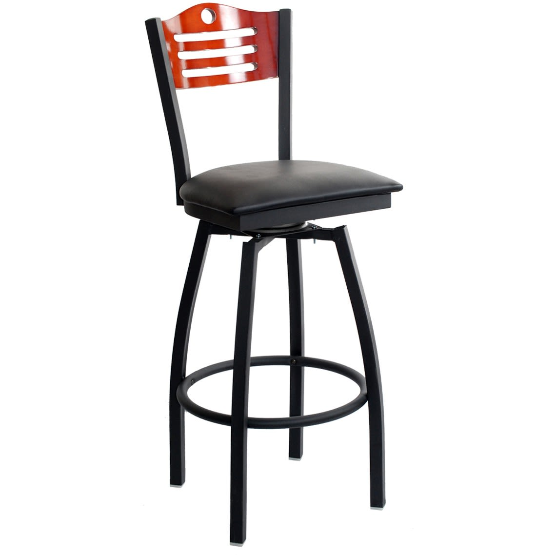 Interchangeable Back With 3 Slats and Circle Swivel Bar Stool