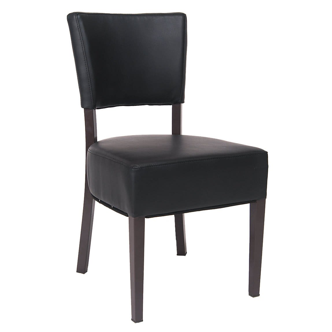 Brown Metal Chair with Black Vinyl Padded Back and Seat