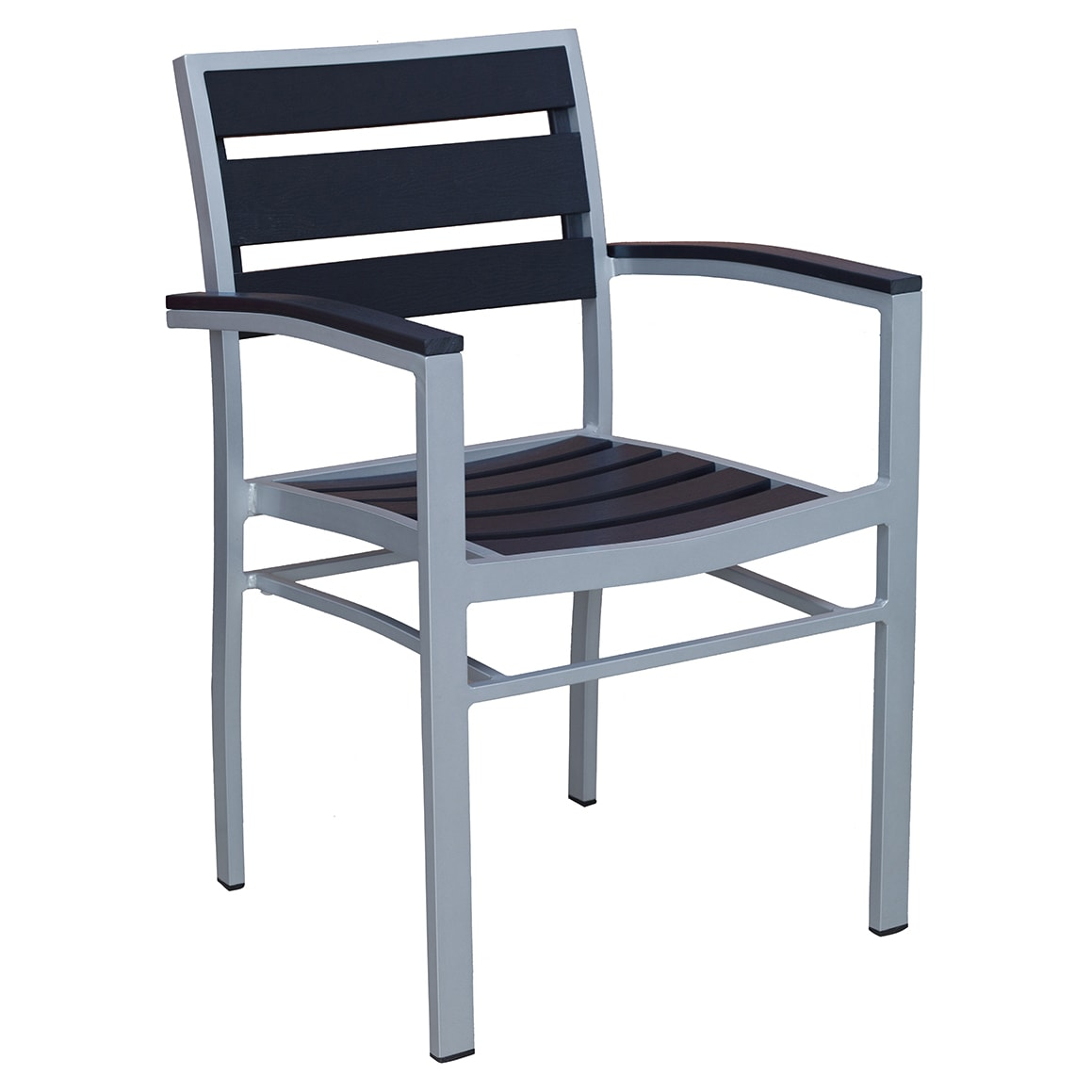 Aluminum Arm Chair with Black Plastic Teak