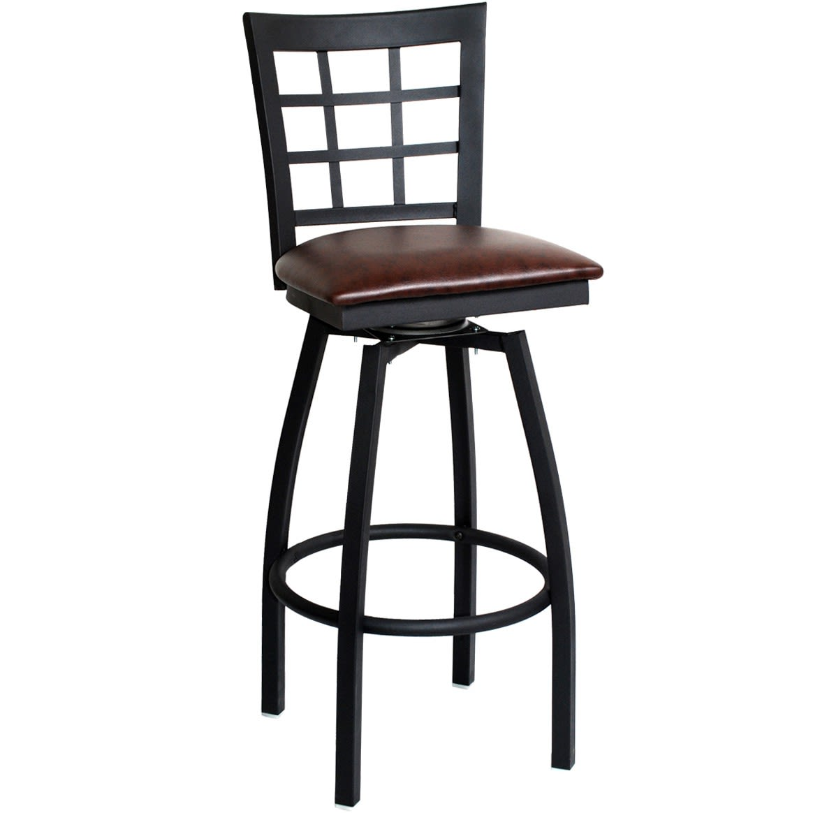 Metal Window-Back Swivel Bar Stool