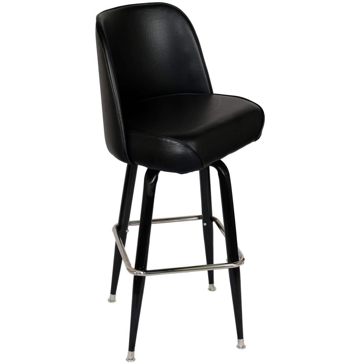 Swivel Bar Stool with Black Coated Frame & Bucket Seat