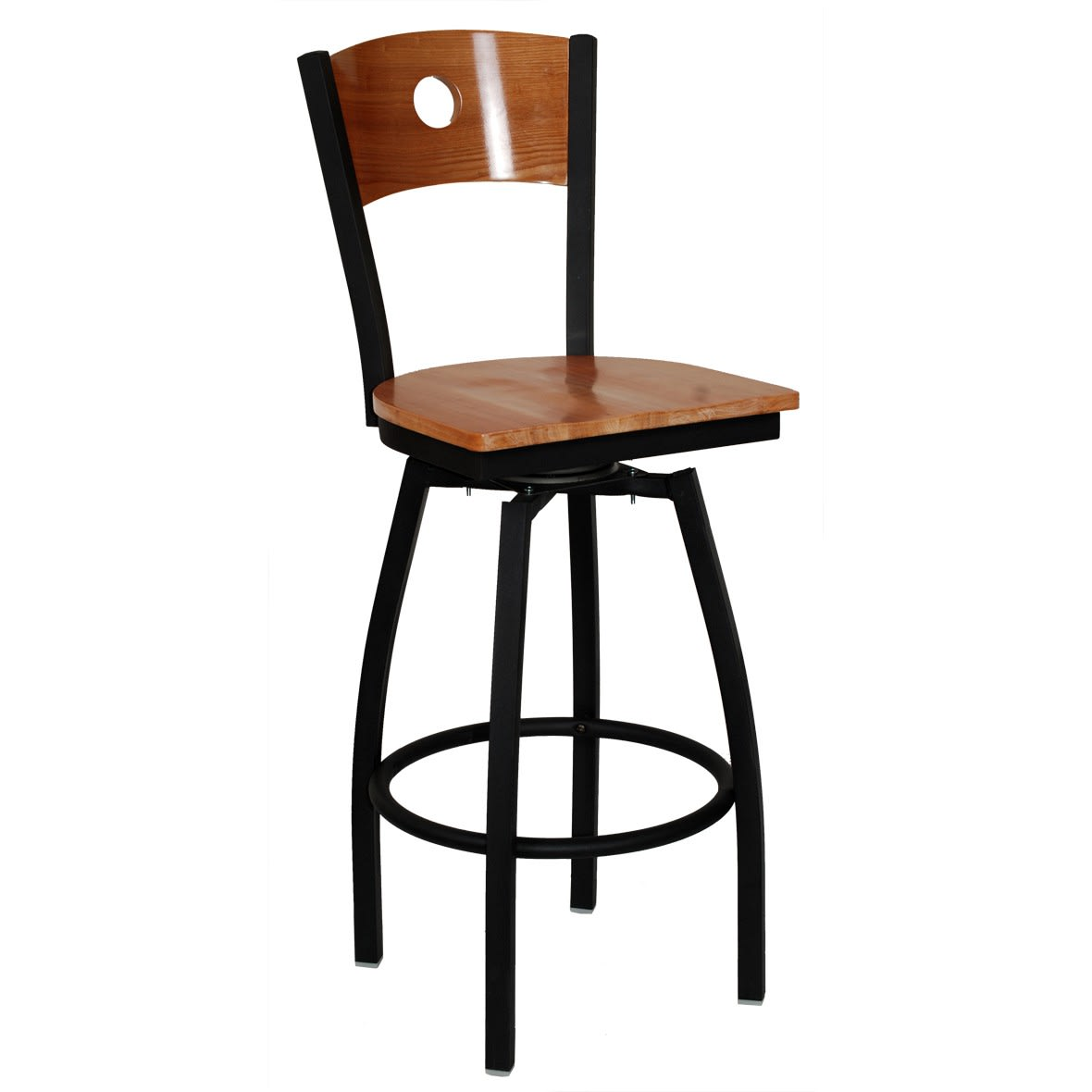 Interchangeable Back Metal Swivel Bar Stool with Circle