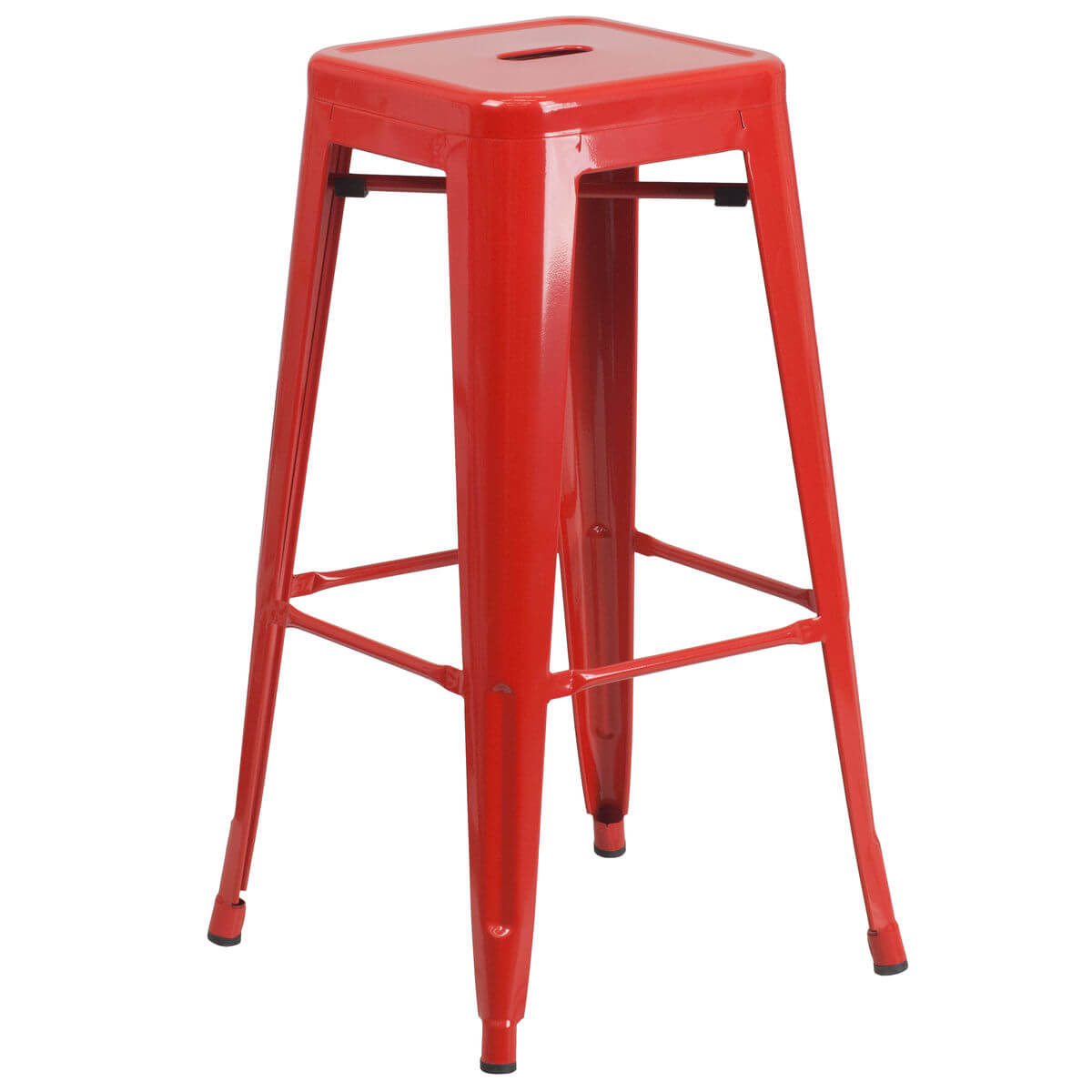 Red Backless Bistro Style Bar Stool