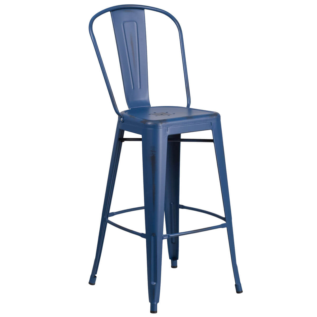 Distressed Dark Blue Bistro Style Metal Bar Stool