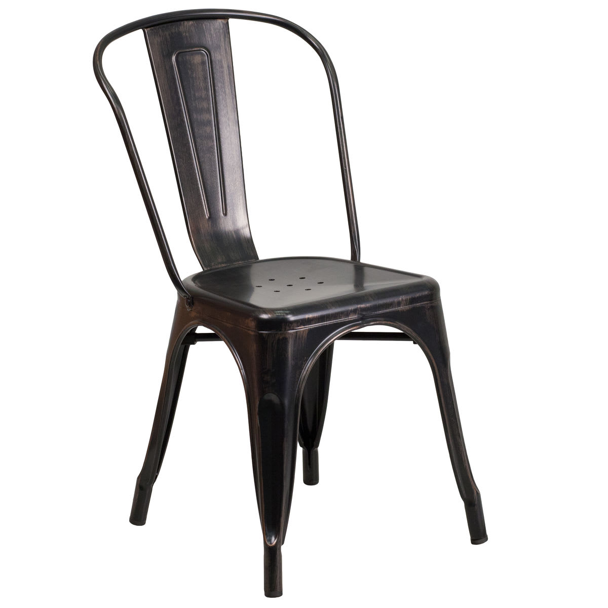 Bistro Style Metal Chair in Antique Black and Gold