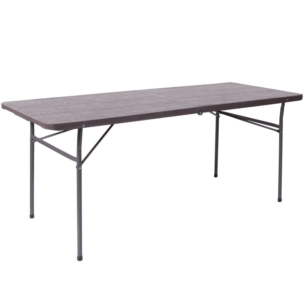 Wood Grain Plastic Folding Table