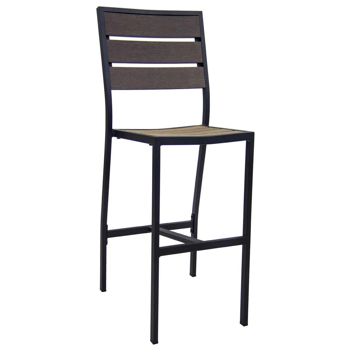 Black Aluminum Bar Stool with Dark Walnut Plastic Teak