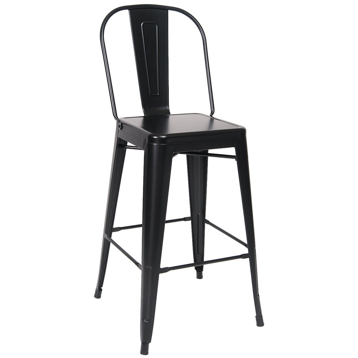 Bistro Style Metal Bar Stool in Black Finish