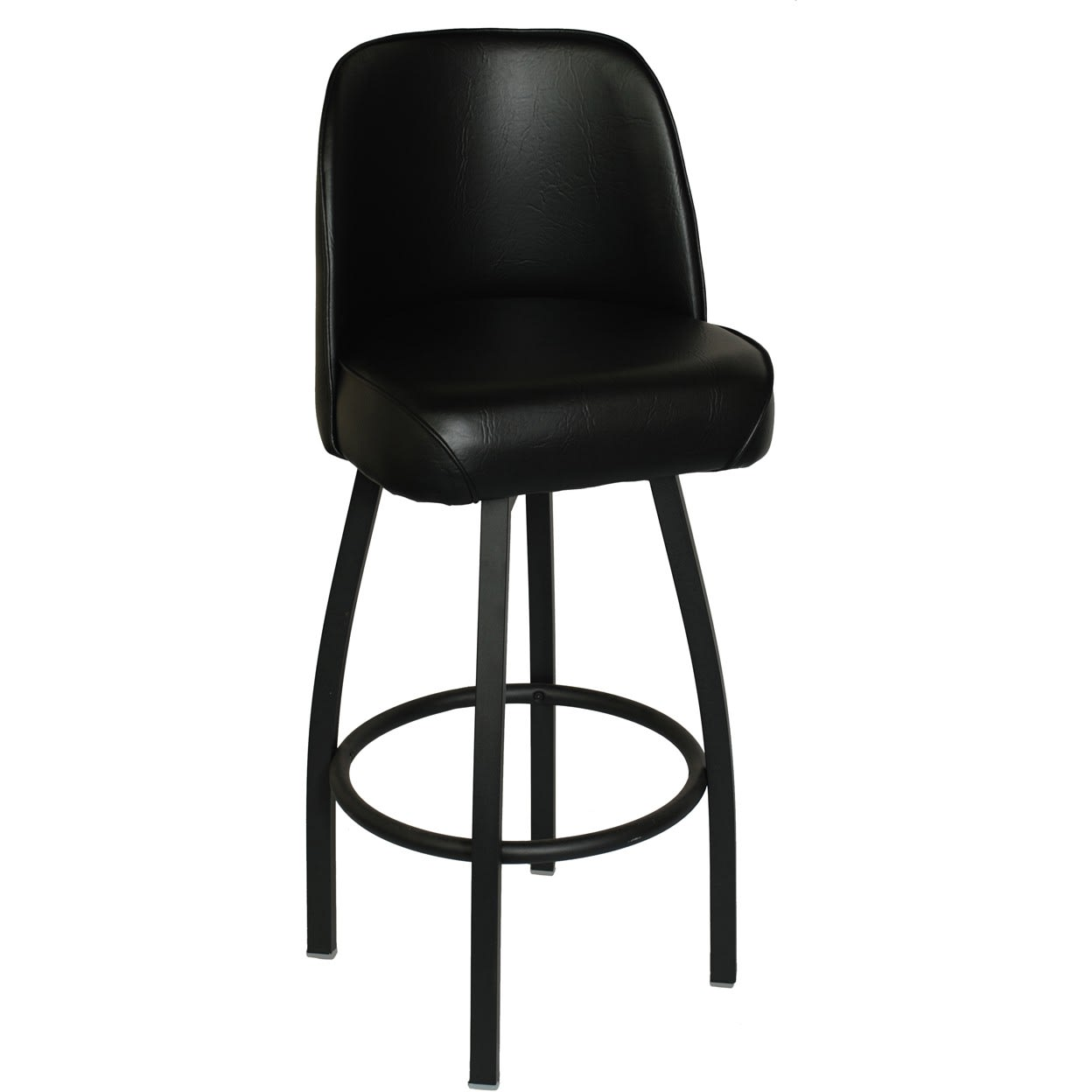 Swivel Bar Stool in Black Finish and Padded Bucket Seat