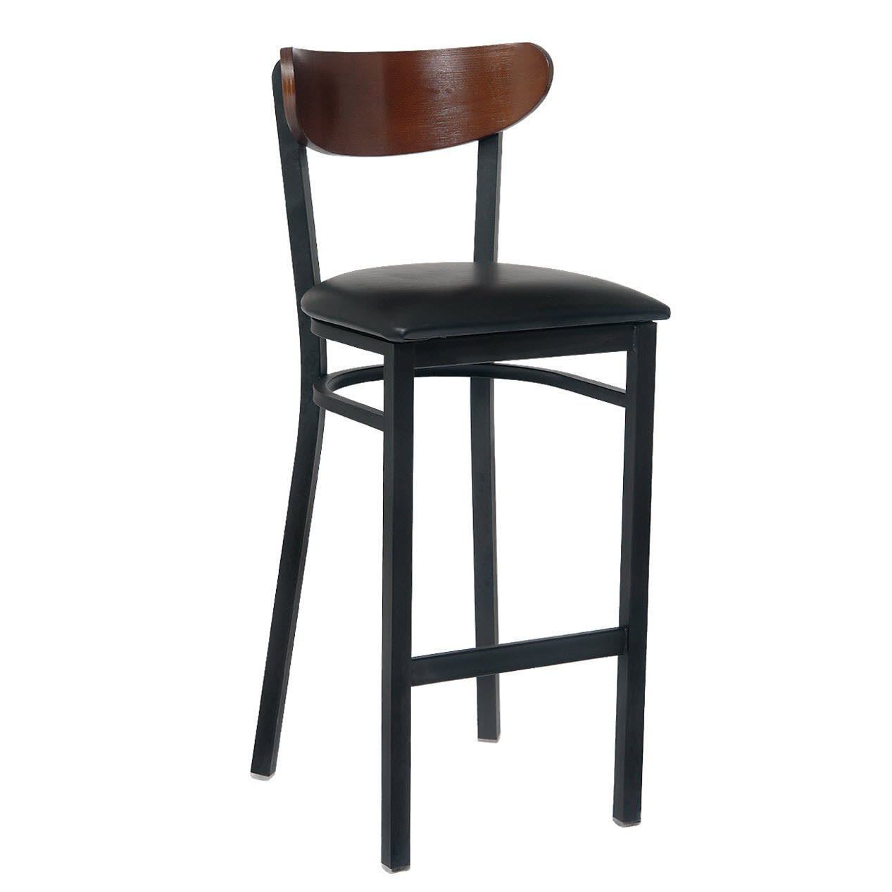 Modern Curved Back Metal Bar Stool