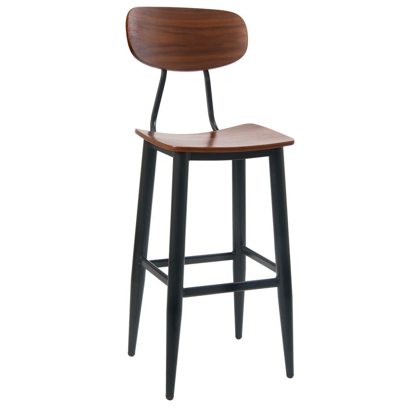 Basel Metal Bar Stool with Veneer Back and Seat
