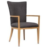 Sereno Wood Grain Aluminum Upholstered Arm Chair