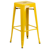 Yellow Backless Bistro Style Bar Stool