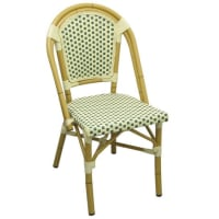 Aluminum Bamboo Patio Chair With Light Green and White Rattan