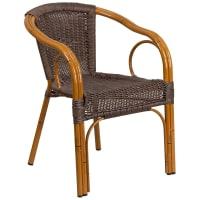 Aluminum Bamboo Patio Chair with Dark Brown Rattan
