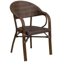 Aluminum and Dark Brown Rattan Patio Chair