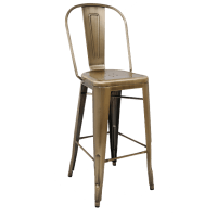 Bistro Style Metal Bar Stool in Brass Finish