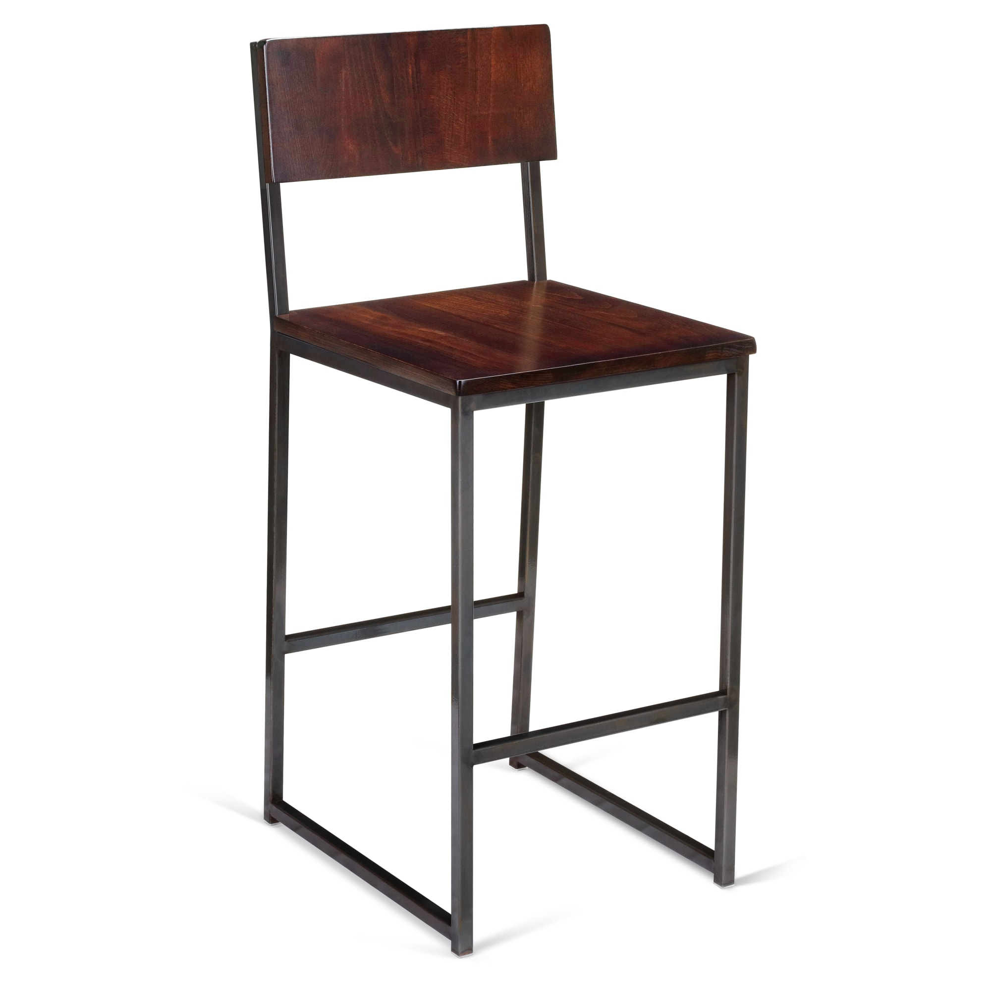 Industrial Series Metal Bar Stool with Wood Back with Industrial Series Metal Bar Stool with Wood Back