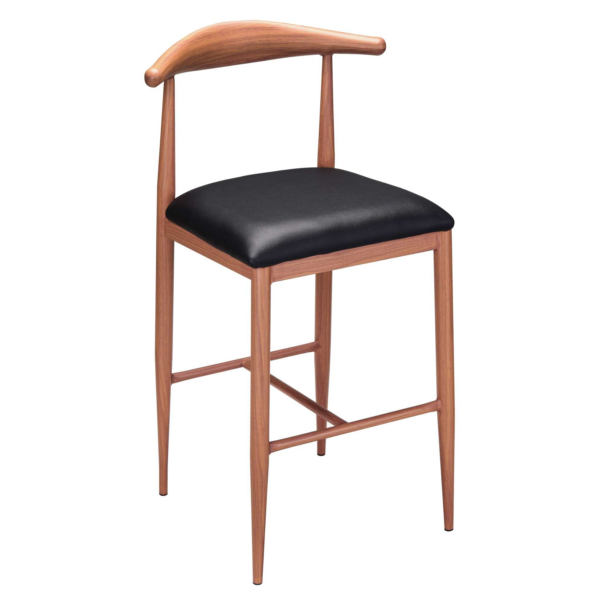 Wood Grain Metal Bar Stool in Walnut Finish & Black Vinyl Seat with Wood Grain Metal Bar Stool in Walnut Finish & Black Vinyl Seat