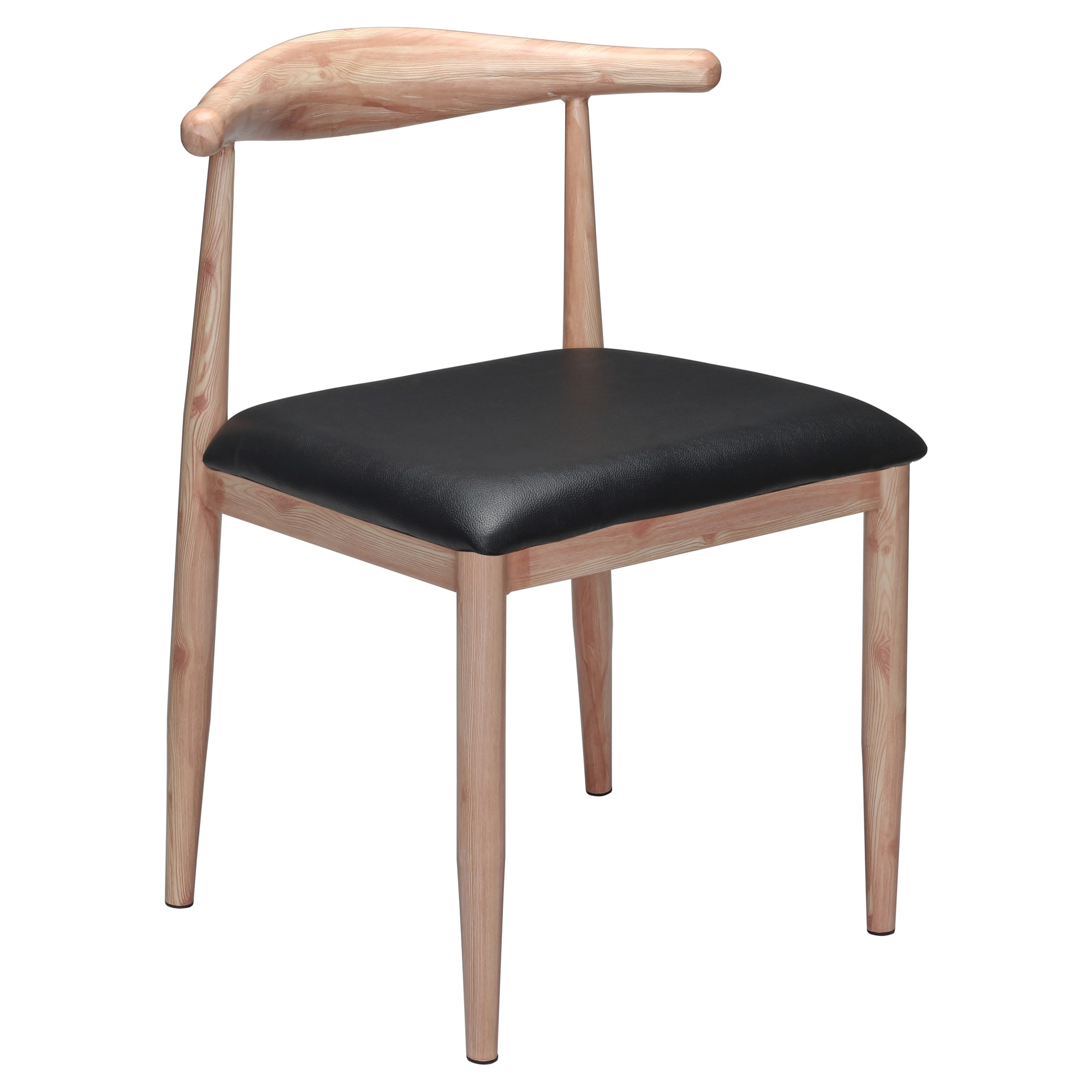 Wood Grain Metal Chair in Natural Finish with Black Vinyl Seat with Wood Grain Metal Chair in Natural Finish with Black Vinyl Seat