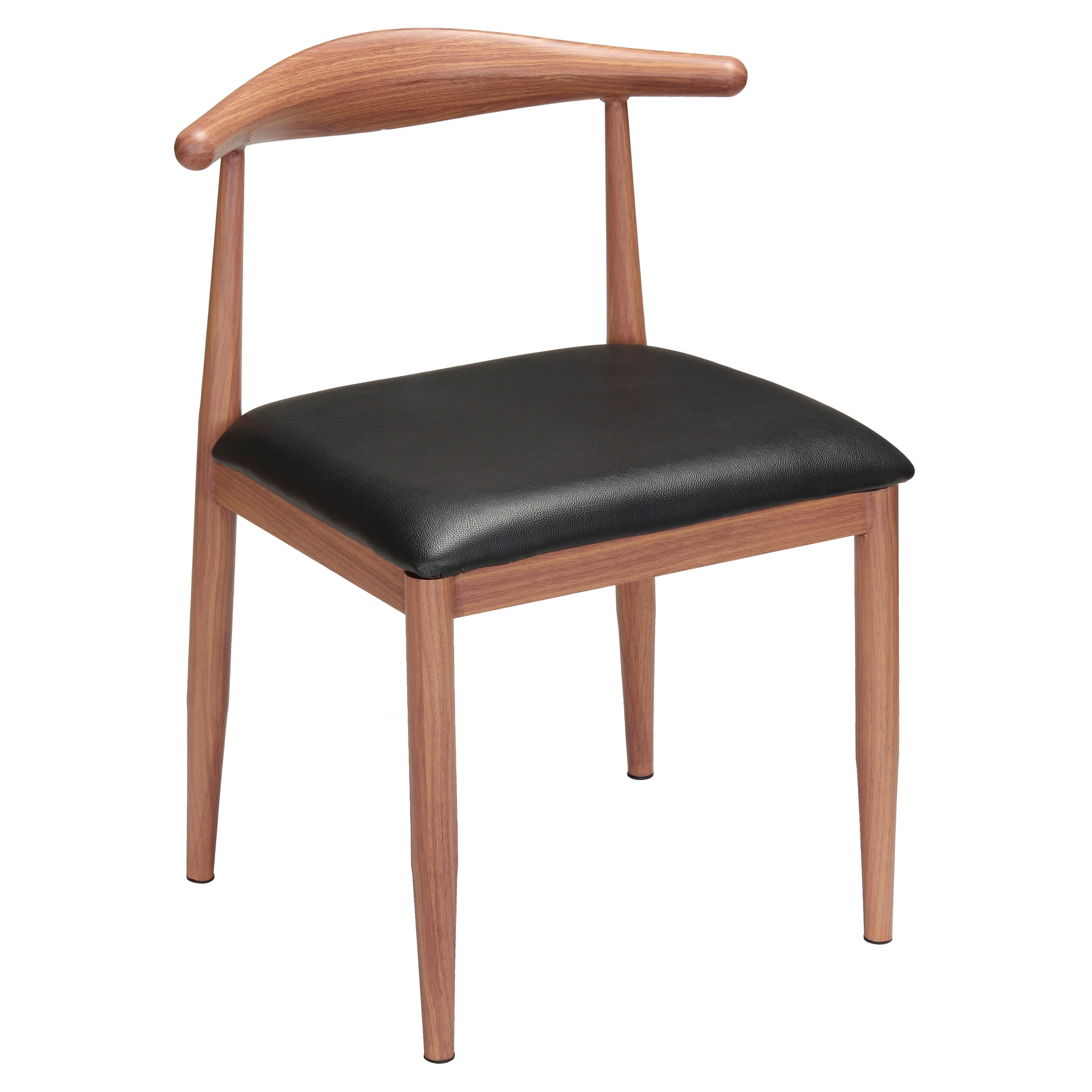Wood Grain Metal Chair in Walnut Finish with Black Vinyl Seat with Wood Grain Metal Chair in Walnut Finish with Black Vinyl Seat
