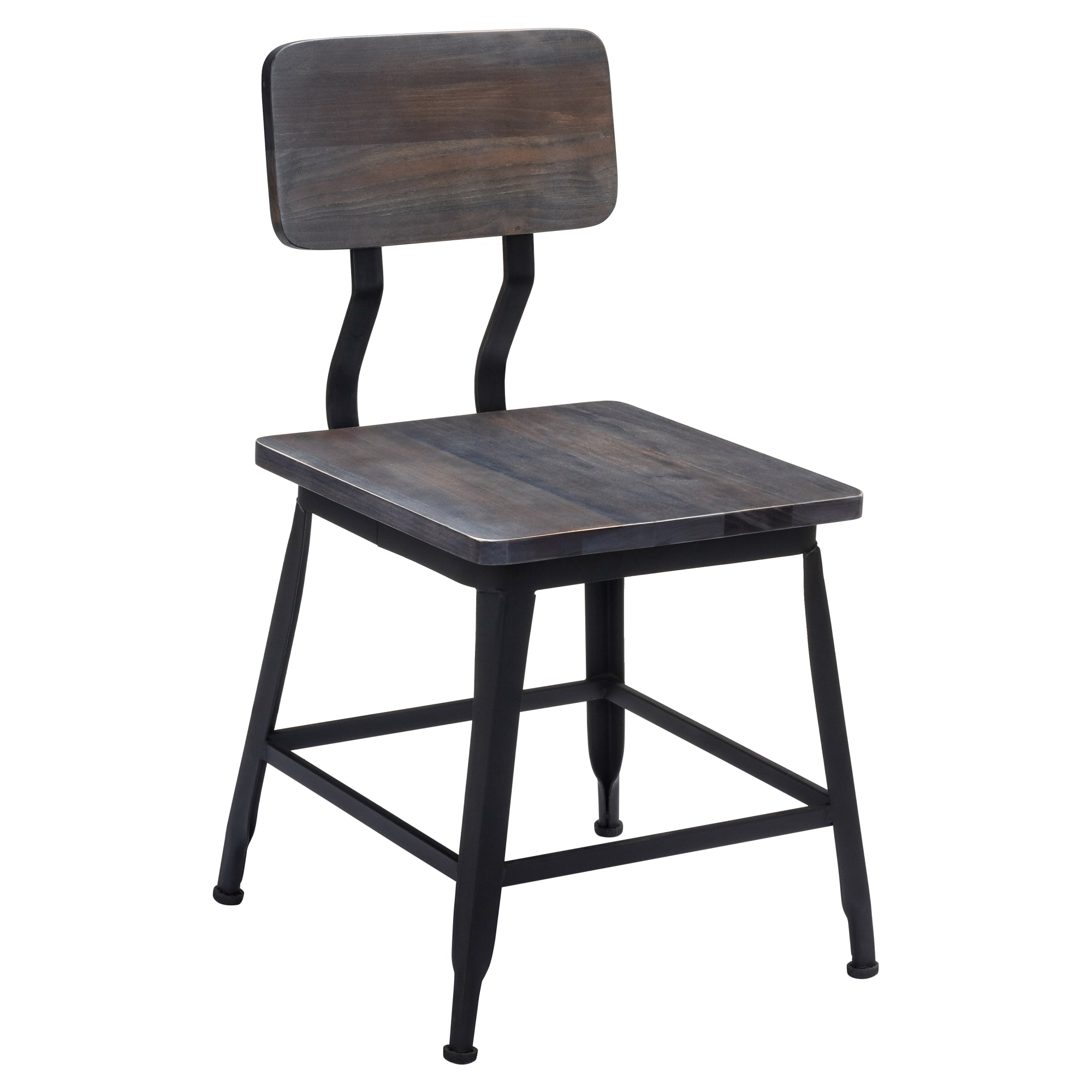 Black Industrial Style Metal Chair With Wood Back and Seat  with Black Industrial Style Metal Chair With Wood Back and Seat