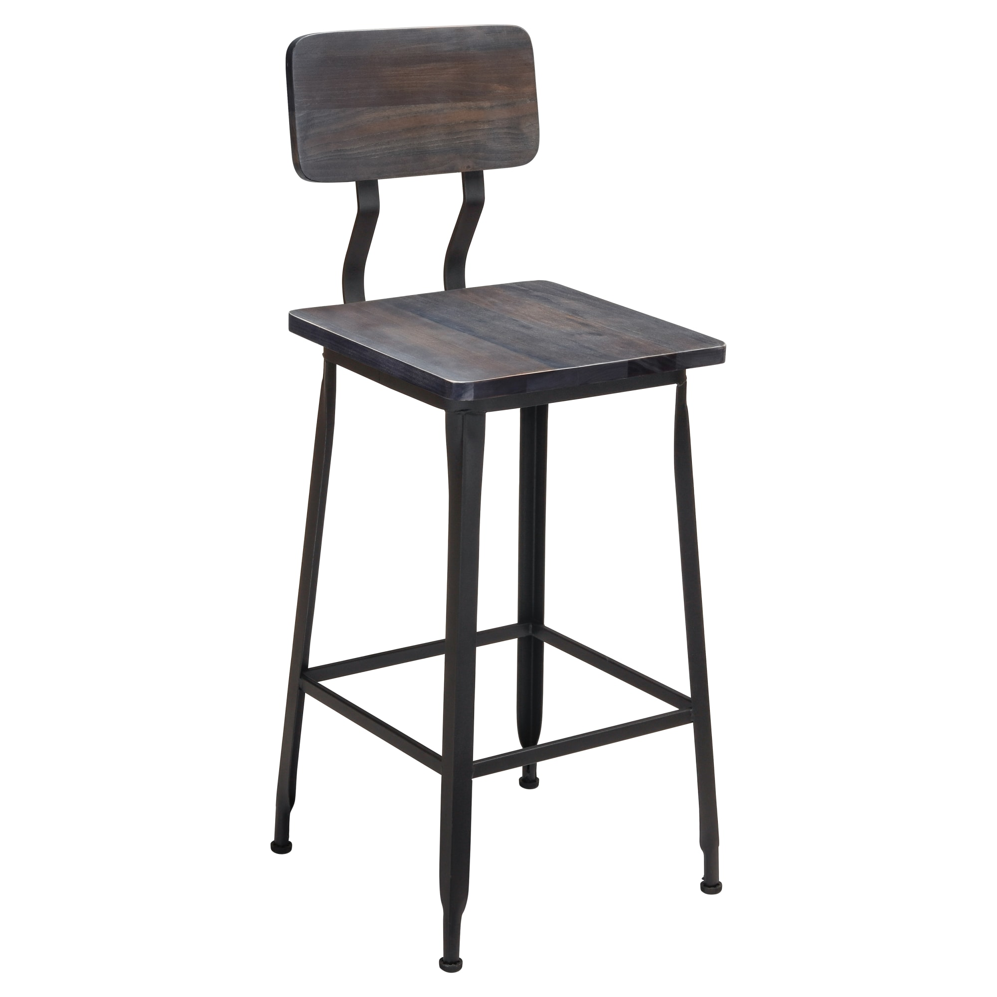 Industrial Bar Stool with Wood Back & Seat with Industrial Bar Stool with Wood Back & Seat