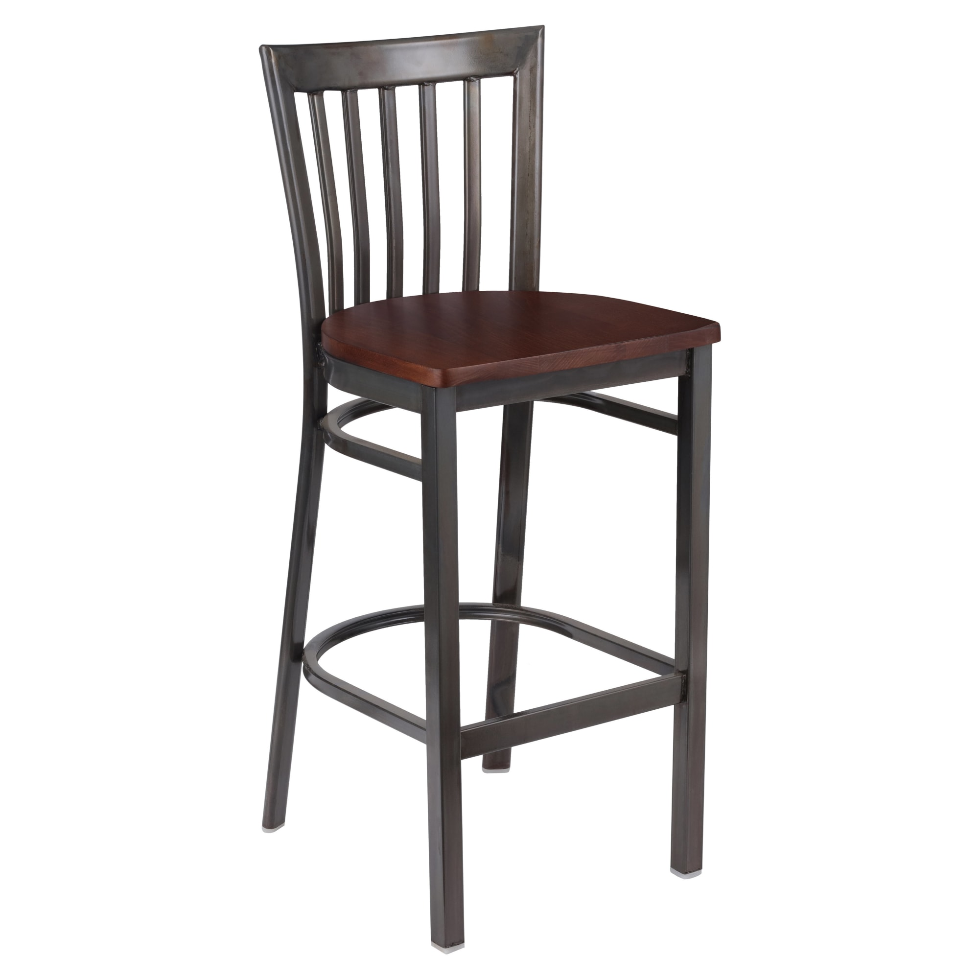 Clear Coat Elongated Back Metal Bar Stool with Clear Coat Elongated Back Metal Bar Stool