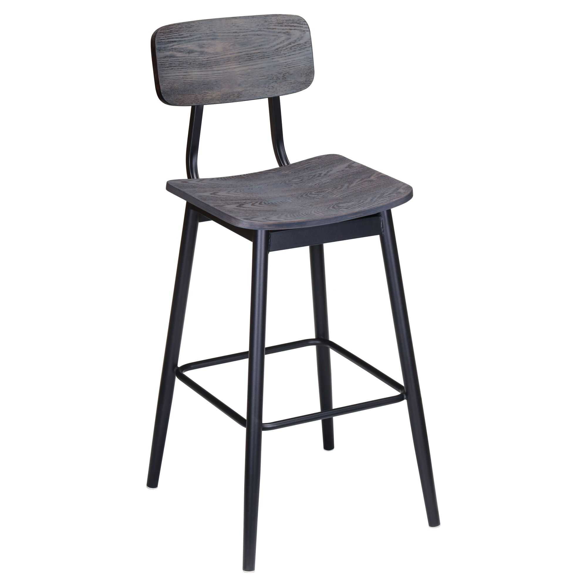 Basel Metal Bar Stool with Veneer Back and Seat with Basel Metal Bar Stool with Veneer Back and Seat
